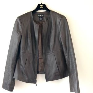 Style & Co. Brown Genuine Leather Jacket Sz S